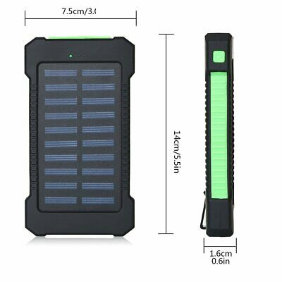 Solar Waterproof 500000mAh Power Bank 2 USB LED External Battery Fr Mobile Phone 7