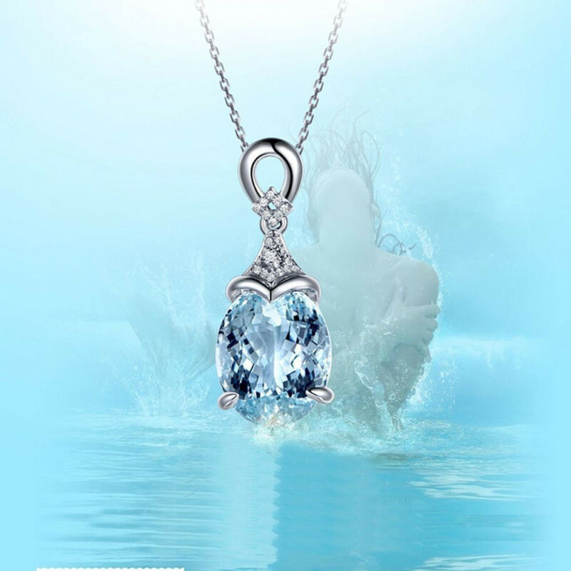 Vintage Gemstone  Natural Aquamarine Silver Chain Pendant Necklace Jewelry Gift 6