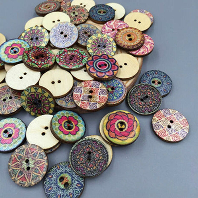 50Pcs/lot Flower Picture Wood Button 2 Holes Mixed Color Apparel Sewing DIY Gift 8