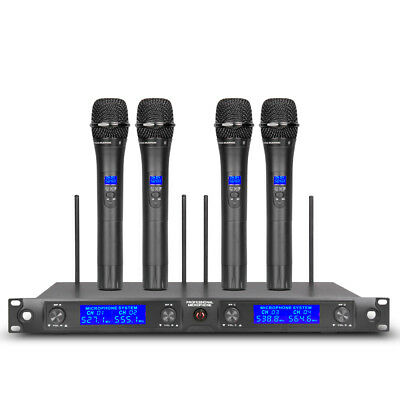 Pro Audio UHF Wireless Microphone System 4 Channel 4 handheld 4 Lavalier Headset 2