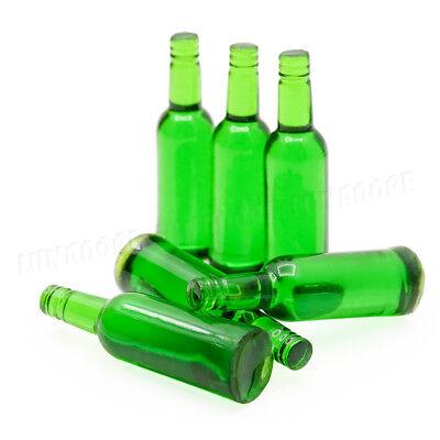 1:12 Miniature 6pcs Green Beer Wine Bottles Set Drink Beverage Model Dollhouse 2