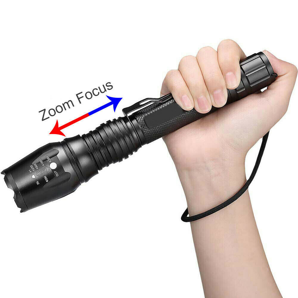 350000LM Zoomable T6 LED Rechargeable Torch Flashlight Work Light Headlamp Camp 4