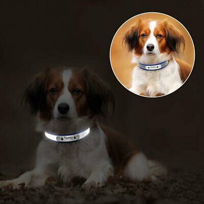 Leather Personalized Dog Collar Pet Cat Custom Name Tags Adjustable Reflective 9