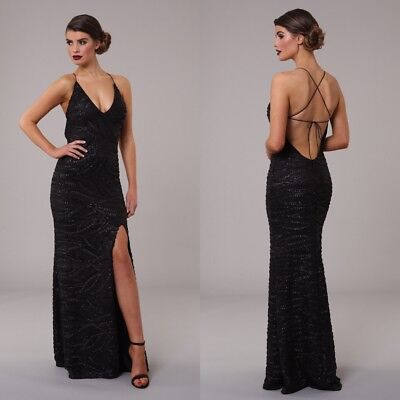 ... Honor Gold Gia Sequin Maxi Evening Dress Backless Tie Design Long Ball  Prom Gown 2 9d0a9b2cd