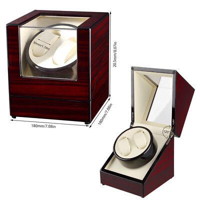 Automatisch Uhrenbeweger sanders watchwinder Box aus Holz für 2 Uhren UK Adapter