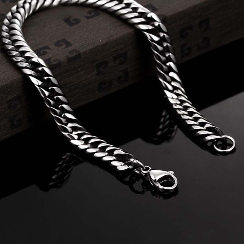 Men's Stainless Steel Silver Chain Link Bracelet Wristband Bangle Jewelry Punk 6