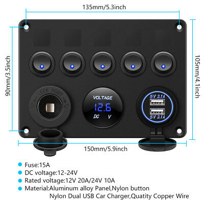 AU Switch Panel 12V USB ON-OFF Toggle 5 GANG Blue LED Rocker for Car Boat Marine 2