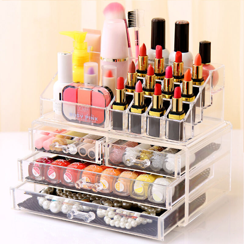 Clear Acrylic Cosmetic Organiser with Drawers Makeup Jewelry Display Box Case 2