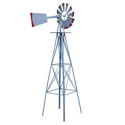 11 Of 12 8Ft Tall Windmill Ornamental Wind Wheel Silver Garden Weather Vane  Red
