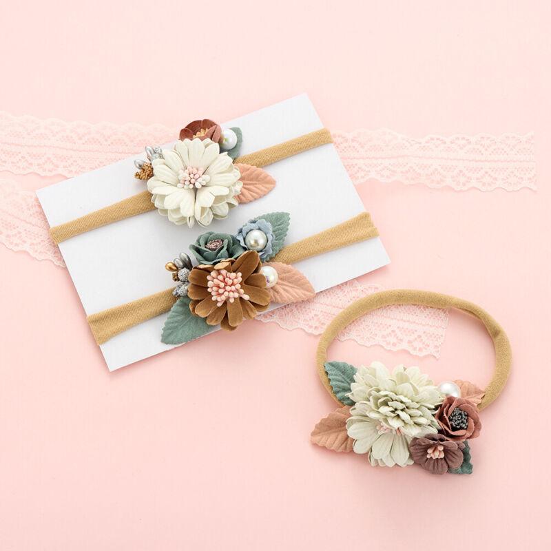 Newborn Baby Girls Chiffon Headpiece/Flower Infant Headband Hairband Headwear 3