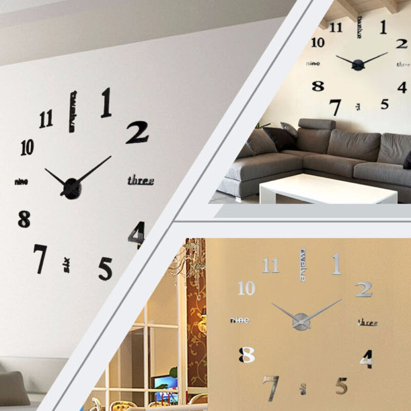 3D DIY Wall Clock Large Luxury Mirror Design Home Decoration Black & Silver 2