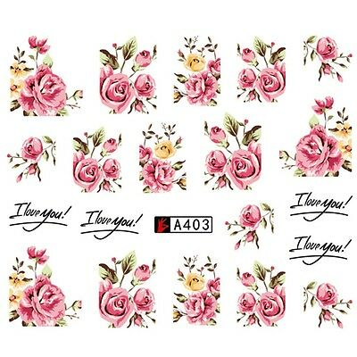 ❤️nouveau Stickers Roses Bijoux Ongles Water Decals Manucure Nail Art
