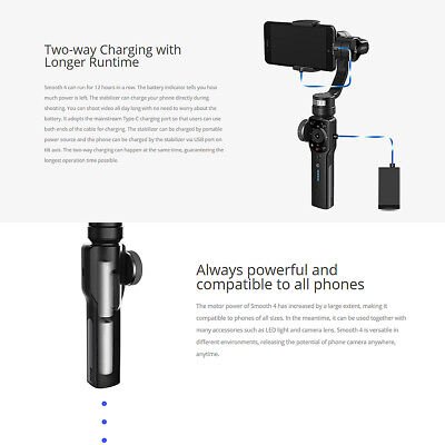 Zhiyun Smooth 4 3-Axis Handheld Smartphone Gimbal Stabilizer for iPhone XS Max X 7