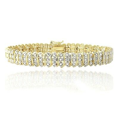 1.00ct TDW Natural Diamond S Link Tennis Bracelet in Gold or Silver Plated Brass 2
