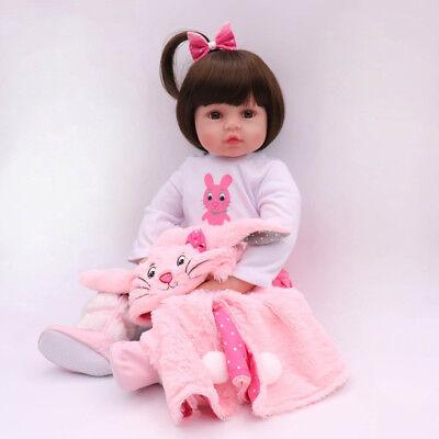 "Reborn Baby Girl Dolls 16"" Newborn Silicone Vinyl Handmade Xmas Gifts Doll Toy 2"