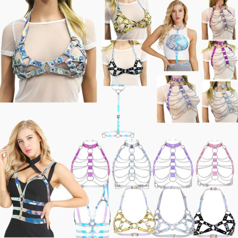 Sexy Women PVC Halter Body Chain Harness Metal Chest Belt Corset Bustier Costume 3