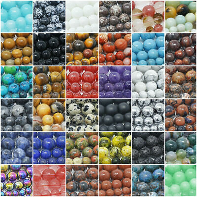 Natural Gemstone Round Spacer Beads 4mm 6mm 8mm 10mm 12mm Wholesale Assorted 2