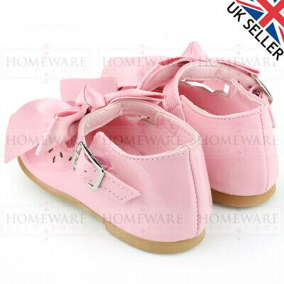 BABY GIRLS SPANISH SHOES LEATHER PINK WHITE PICOT DIAMANTE BOW SIZES UK2 TO UK8