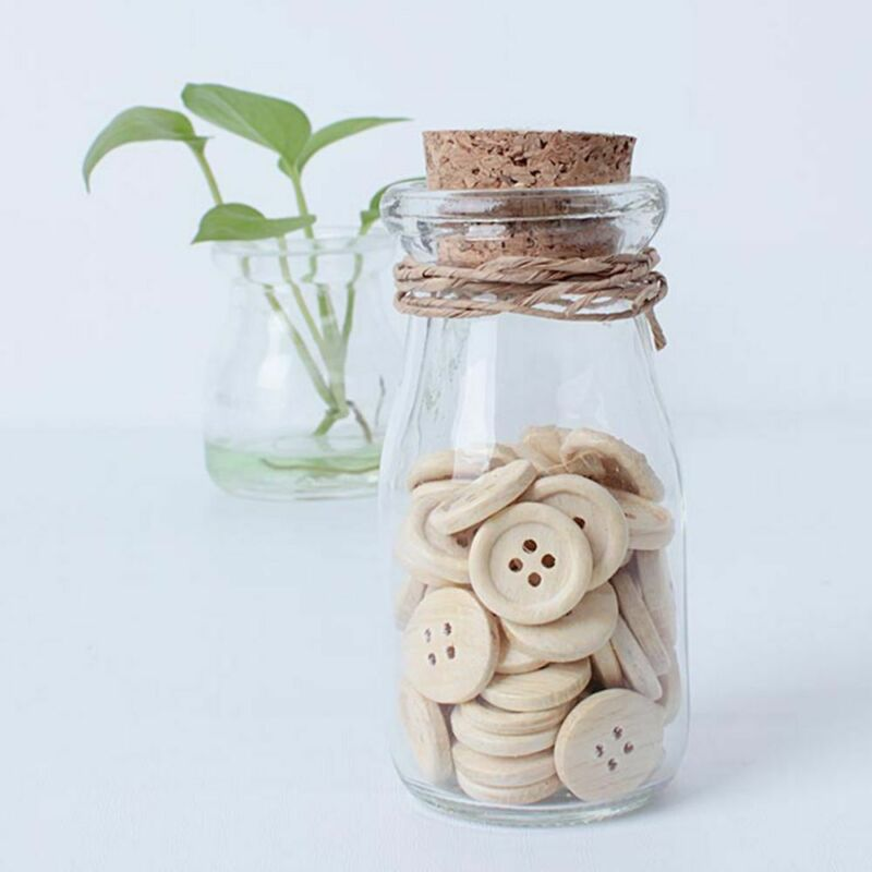 50pcs pattern Wood Buttons 4 Holes Sewing 15mm 18mm 25mm Craft Lots DIY 5