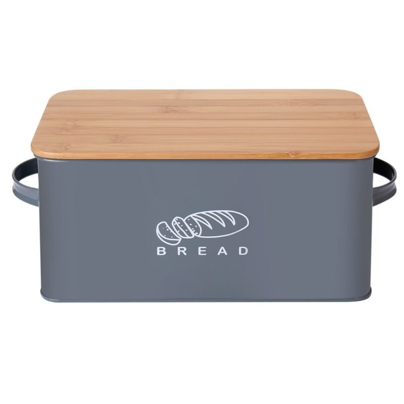 ... Retro Kitchen Space Saving Storage Box Large Bread Box With Eco Bamboo  Board Lid