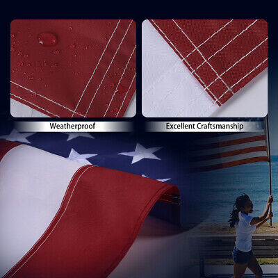 4X6 Ft American Flag US Flag United States Embroidered Stars  Brass Grommets 4