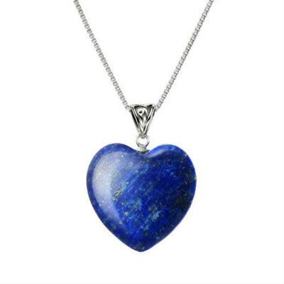 """Blue Lapis Lazuli Heart Pendant Necklace 18"""" Chain Blue Heart Necklace Pendant 5"""