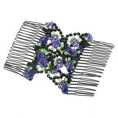 Women Girl Double Hair Comb Magic Beads Elasticity Clip Stretchy Hair Combs Clip