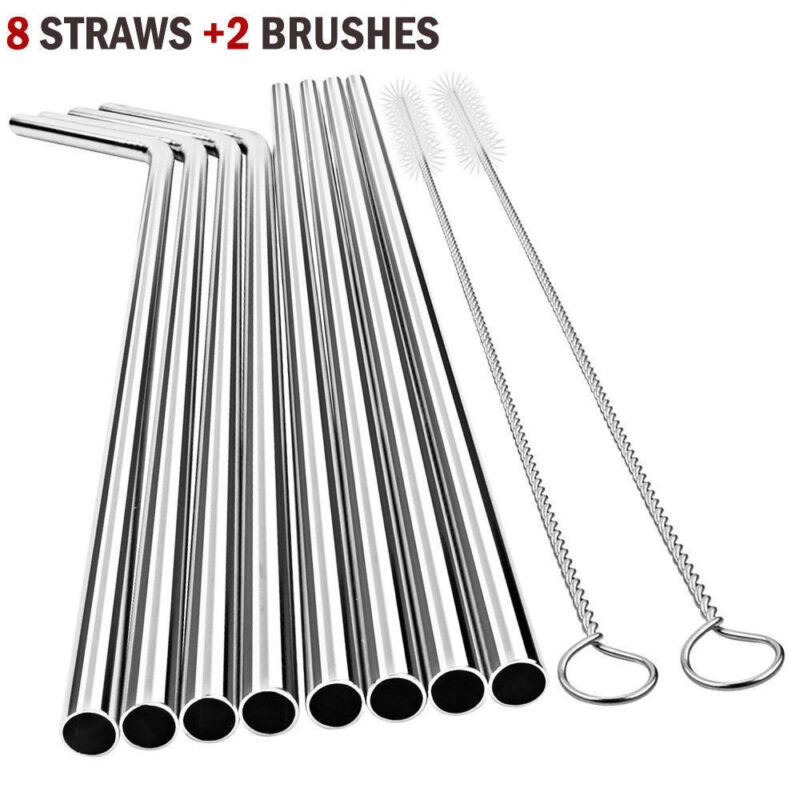 10pc Reusable Drinking Straw Stainless Steel Metal Straws Wide Straw Smoothies 2