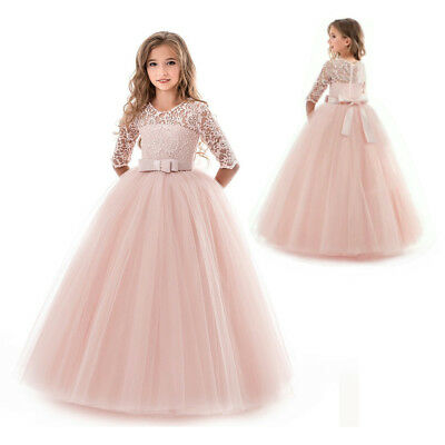 Flower Girl Dress Princess Party Wedding Bridesmaid Kid Formal Gown Long Dresses 5