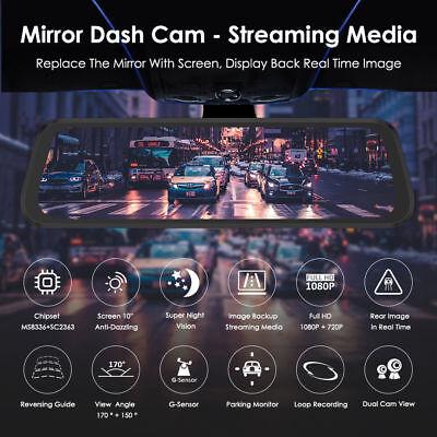 "AZDOME 10"" HD 1080P Dual Lens Car Dash Cam Recorder Mirror Touching Night Vision 3"