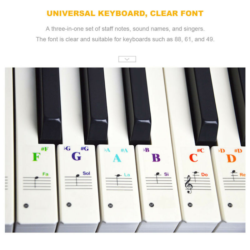49/61/76/88 Colorful keys Music Keyboard Piano Stickers Set Removable Stickers 9