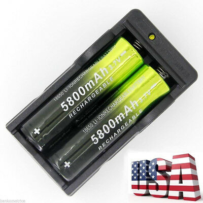 2pcs Skywolfeye 5800mah 18650 Battery 3.7v Rechargeable Li-ion Cell +USA Charger 2