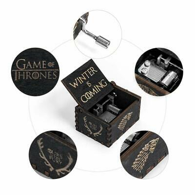 """""""Game of Thrones"""" Music Box Carved Wooden Hand Crank Handmade Xmas Kids Gift 3"""