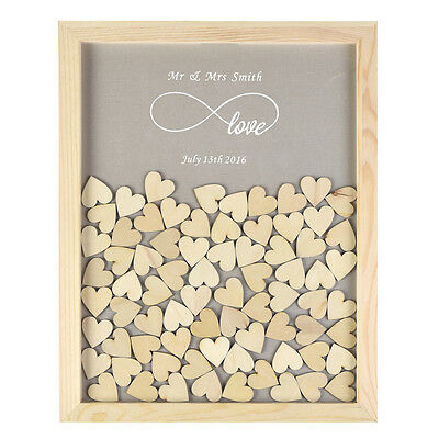 Personalized Love Forever Drop Top Guest Book Wooden Frame Heart