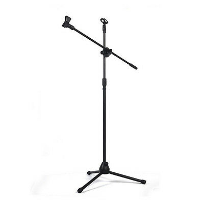Professional Boom Tripod Microphone Mic Stand Holder Adjustable Black + 2 Clips 2