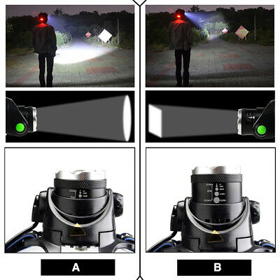 650000Lumen T6 LED Zoomable Headlamp USB Rechargeable 18650 Headlight Head Light 10