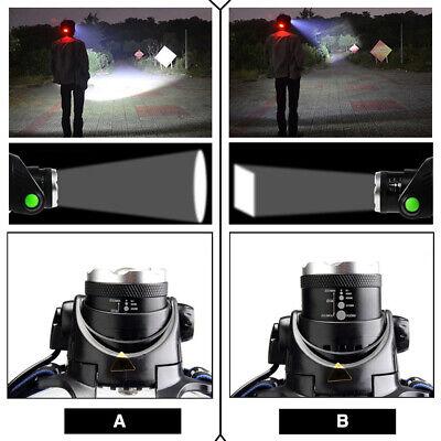 900000Lumen T6 LED Zoomable Headlamp USB Rechargeable 18650 Headlight Head Light 10