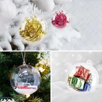200Pcs Clear Plastic Christmas Balls Baubles Sphere Fillable Xmas Tree Ornament 9