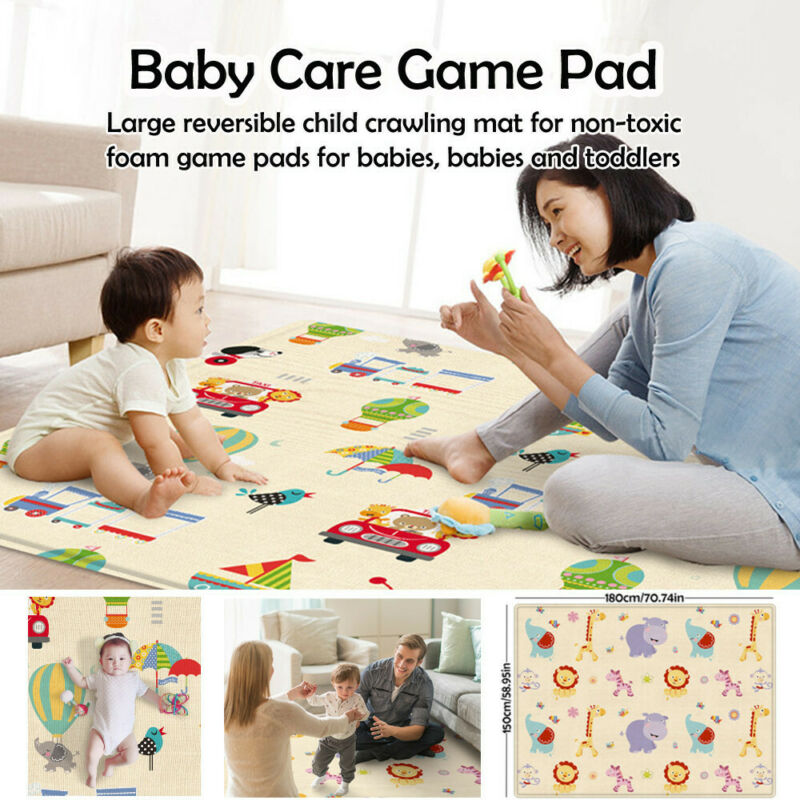 Large Foldable Double-sided Child Crawling Play Mat For Baby Non-toxic Game 2