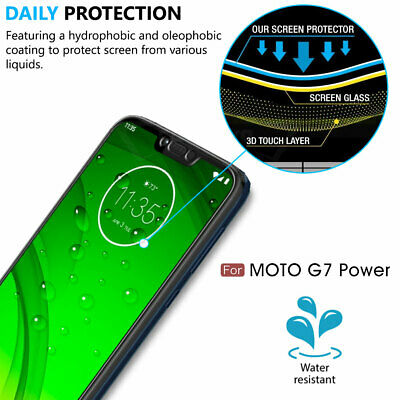 Moto G7 Power TPU Leather Case Cover Tempered Glass Screen Protector Slim Skin 4