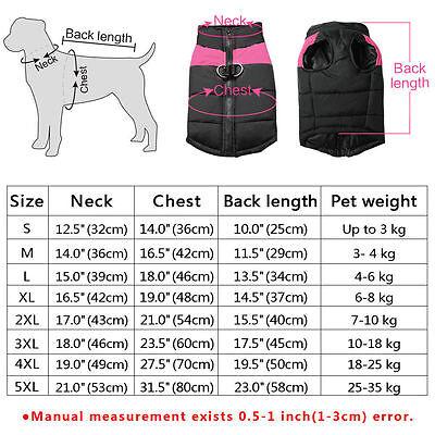 Waterproof Warm Winter Dog Coats Clothes Dog Padded Vest Pet Jacket Small/ Large 11