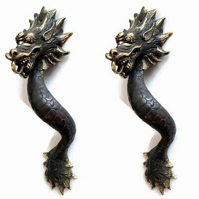 "2 Dragon door pull 30cm aged 100% brass old style house handle 12"" long heavy B 3"