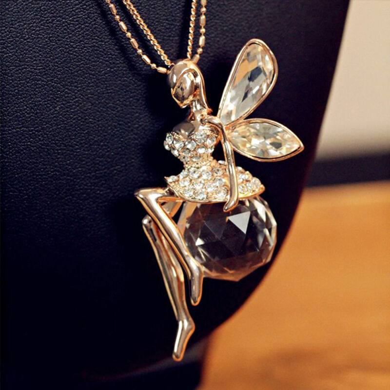 Fashion Women Crystal Fairy Angel Wing Pendant Long Chain Sweater Necklace Gift 4