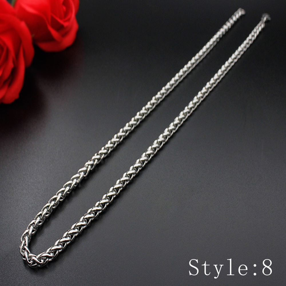 Gift Man Women Fashion 316L Stainless Steel 2mm-5mm Silver Chain Necklace 9