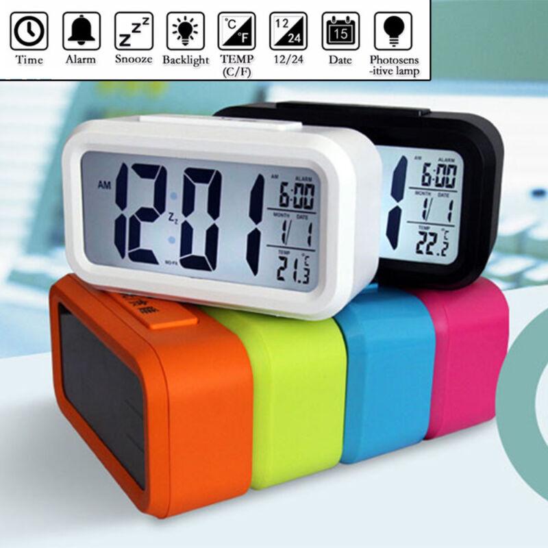 Digital Snooze Alarm Clocks Backlight LED Table Clock Time Temperature Calendars 6