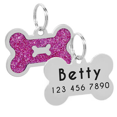Glitter Bone Shape Personalized Dog Tags Engraved Pet ID Name Collar Tag Charm 10