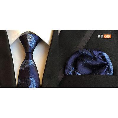Men Classic Silk Paisley Tie Jacquard Woven Necktie Pocket Square Handkerchief 4