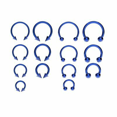 Horseshoe Bar Circular Barbell Lip Nose Septum Ear Ring Various Sizes & Colours 2
