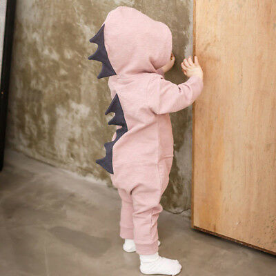 Newborn Infant Baby Boy Girl Kids Dinosaur Hooded Romper Jumpsuit Clothes Outfit 2