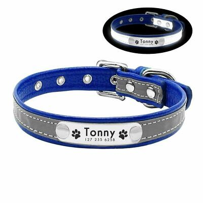 Personalised Soft Reflective Leather Dog Collar Custom Name ID Tags Pet Cat 3